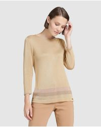 Yera | Camel Brown Sweater With Lurex Stripes | Lyst