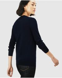 Lacoste - Navy Blue V-neck Sweater - Lyst
