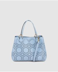 El Corte Inglés - Small Pale Blue Shopper Bag With Perforations - Lyst