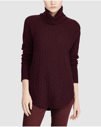 Polo Ralph Lauren - Purple Cable Stitch Sweater With A Polo Neck - Lyst