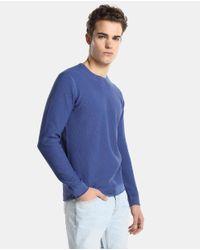 GREEN COAST Blue Crew Neck Sweater for men