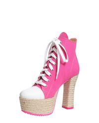 Moschino - Pink Lita Canvas Boots With Rope Sole - Lyst