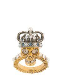 Alexander McQueen | Metallic King Skull Brass Ring | Lyst