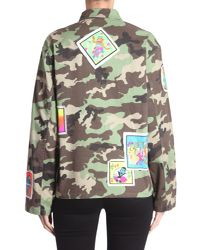 Jeremy Scott - Multicolor Oversize Fit Camouflage Denim Jacket With Patches - Lyst