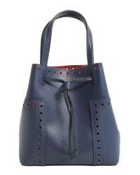 Tory Burch - Blue Block T Leather Bucket Bag - Lyst
