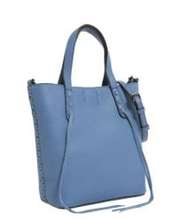 Rebecca Minkoff - Blue Mini Unlined Lleather Tote With Whipstitch - Lyst