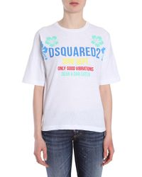 DSquared² - White T-shirt Girocollo In Cotone - Lyst