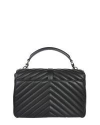 Saint Laurent - Black College Medium Bag In Matelassé Leather - Lyst
