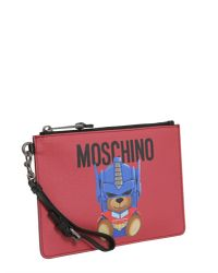 "Moschino - Red Busta Piccola ""teddy Transformer"" In Pelle - Lyst"