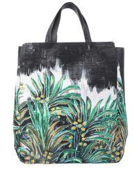 Carven - Black Palm Varenne Leather Tote - Lyst