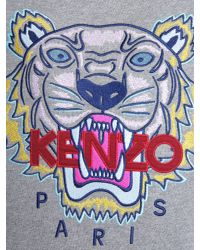 KENZO - Gray Round Collar Cotton Sweatshirt With Embroidered Tiger - Lyst