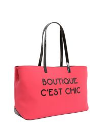 Boutique Moschino - Pink Shopping In Neoprene Con Lettering Gommato - Lyst