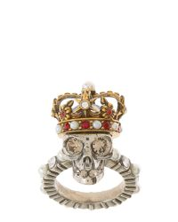 Alexander McQueen - Metallic King Skull Brass Ring - Lyst