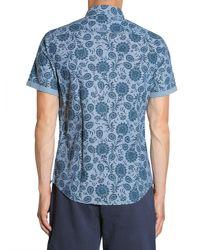 Tommy Hilfiger - Blue Printed Short Sleeve Slim Fit Cotton Poplin Shirt for Men - Lyst