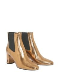 Saint Laurent - Loulou Ankle Boots In Metallic Leather - Lyst