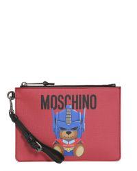 "Moschino - Red Busta Piccola ""teddy Transformer"" In Pelle - Lyst"