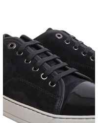 Lanvin - Gray Suede Sneakers With Leather Toe Cap for Men - Lyst