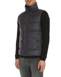 Versace - Blue Sleeveless Down Jacket In Printed Technical Fabric for Men - Lyst