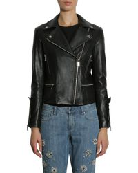 MICHAEL Michael Kors - Black Leather Biker Jacket With Ruffled Details - Lyst