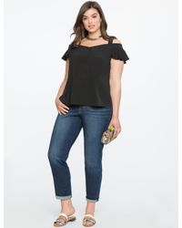 Eloquii - Black Cold Shoulder Flutter Sleeve Top - Lyst