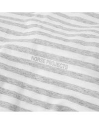 Norse Projects Gray Long Sleeve James Logo Stripe Tee for men