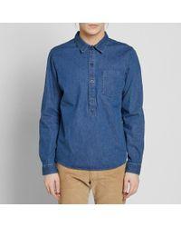A.P.C. - Blue Duke Popover Shirt for Men - Lyst