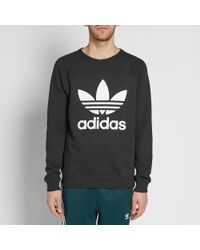 Adidas Originals - Black Original Trefoil Crew Sweat for Men - Lyst