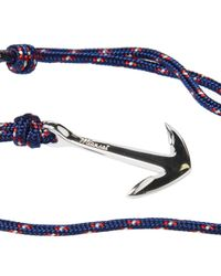 Miansai - Blue Silver Anchor Rope Bracelet for Men - Lyst