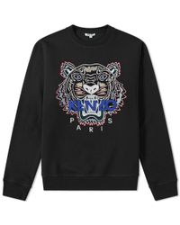 KENZO - Black Tiger Embroidered Sweat for Men - Lyst