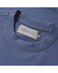 Calvin Klein - Blue Hasto Embossed Logo Crew Sweat for Men - Lyst