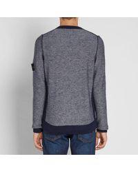 Stone Island - Gray Light Wool Colour Block Crew Knit for Men - Lyst