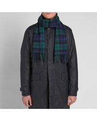 Gloverall - Blue Lambswool Tartan Scarf for Men - Lyst