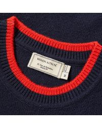Maison Kitsuné - Blue Maison Kitsuné Lambswool Crew Knit for Men - Lyst
