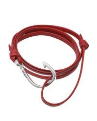 Miansai - Red Silver Hook Leather Bracelet - Lyst