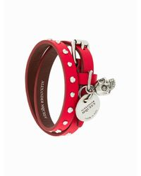 Alexander McQueen Red Double Wrap Bracelet