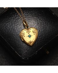 Erica Weiner - Metallic Victorian Brass Heart Locket With Faux Turquoise - Lyst
