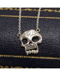 Erica Weiner - Multicolor Skull Necklace With Pearl Teeth - Lyst