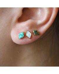 Erica Weiner - Pink Golden Parallelogram Opal Studs (white) - Lyst