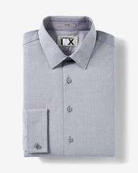 Express | Gray Fitted Tech Iridescent French Cuff 1mx Shirt for Men | Lyst