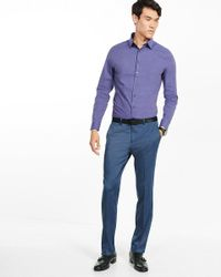 Express - Blue Fitted Heathered 1mx Shirt for Men - Lyst