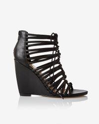 Express | Black Tubular Lace Wedge Sandal | Lyst