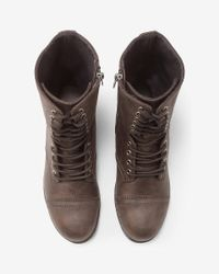 Express - Brown Lace-up Lug Sole Boot - Lyst