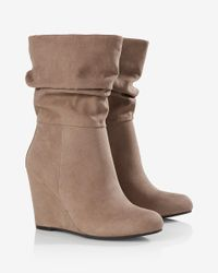 Express - Gray Slouch Wedge Boot - Lyst