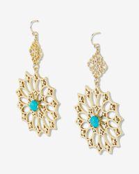Express - Metallic Turquoise Stone Filigree Double Drop Earrings - Lyst