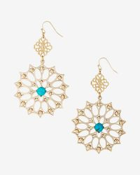 Express - Metallic Turquoise Stone Filigree Double Drop Earrings - Lyst