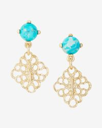 Express | Blue Turquoise Stone Mini Filigree Drop Earrings | Lyst
