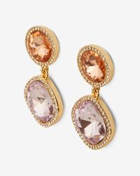 Express - Multicolor Round Stone Drop Earrings - Lyst