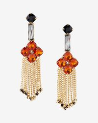Express | Metallic Stone Flower Chain Fringe Drop Earrings | Lyst