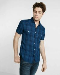 Express - Blue Plaid Short Sleeve Cotton Shirt for Men - Lyst