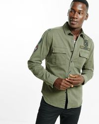 Express   Green Patched Utility Shirt for Men   Lyst